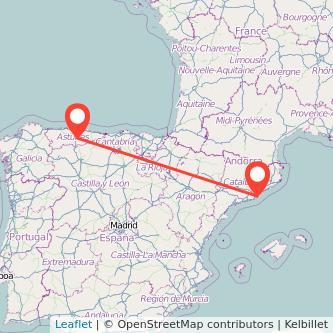 Mapa del viaje Barcelona Mieres en tren