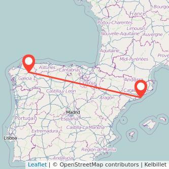 Mapa del viaje Barcelona Lugo en tren