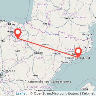 Mapa del viaje Barcelona Logroño en bus
