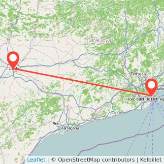 Mapa del viaje Barcelona Lérida en tren