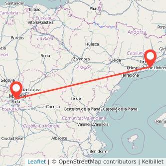 Mapa del viaje Barcelona Leganés en tren