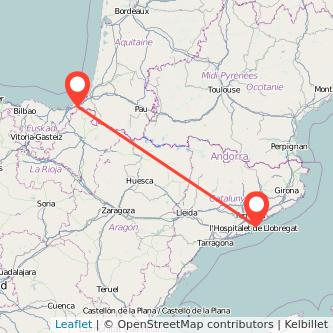 Mapa del viaje Barcelona Irún en bus