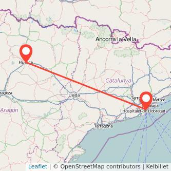 Mapa del viaje Barcelona Huesca en bus
