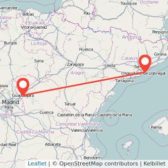 Mapa del viaje Barcelona Guadalajara en bus