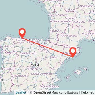 Mapa del viaje Barcelona Gijón en tren