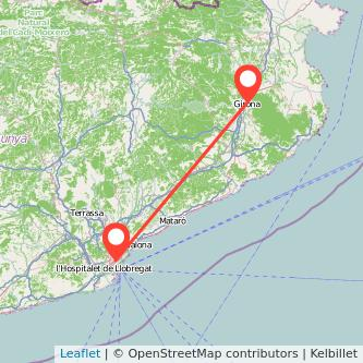 Mapa del viaje Barcelona Girona en bus