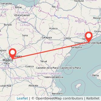 Mapa del viaje Barcelona Alcalá de Henares en tren