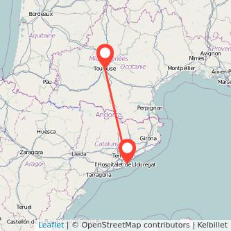Mapa del viaje Barcelona Toulouse en bus