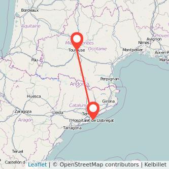 Barcelona Toulouse train map