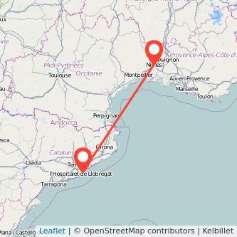 Mapa del viaje Barcelona Nimes en tren
