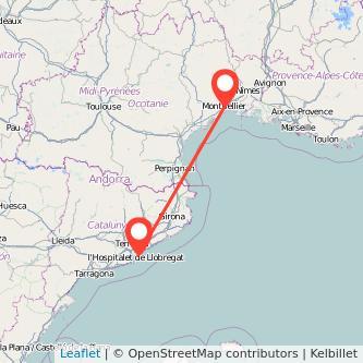Mapa del viaje Barcelona Montpellier en bus