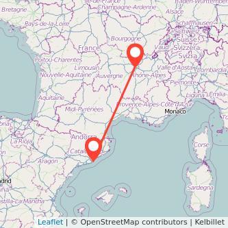 Mapa del viaje Barcelona Lyon en bus