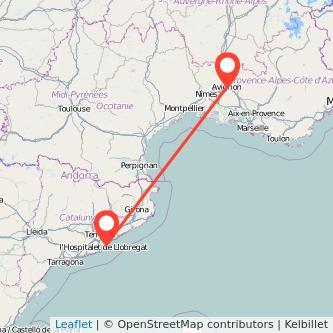 Mapa del viaje Barcelona Avignon en tren