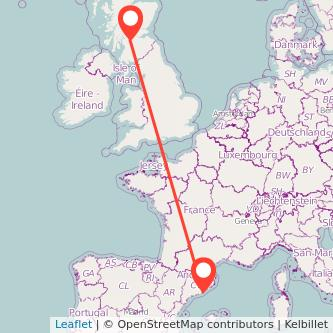 Barcelona Glasgow train map