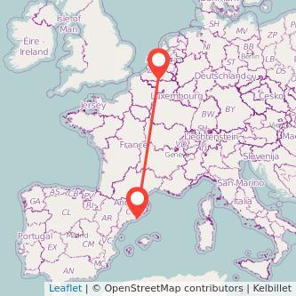 Mapa del viaje Barcelona Bruselas en bus