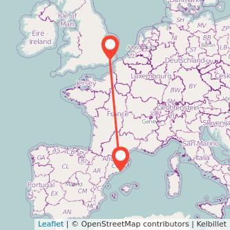 Barcelona Ashford train map