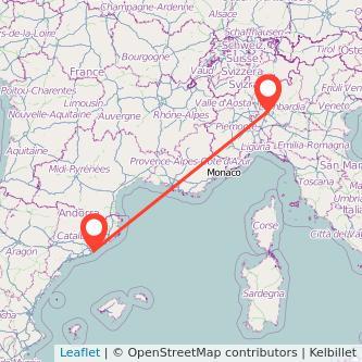 Mapa del viaje Barcelona Milan en bus