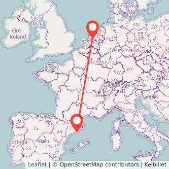 Mapa del viaje Barcelona Amsterdam en bus