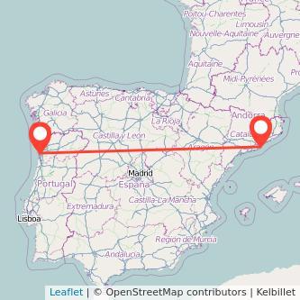 Mapa del viaje Barcelona Oporto en bus