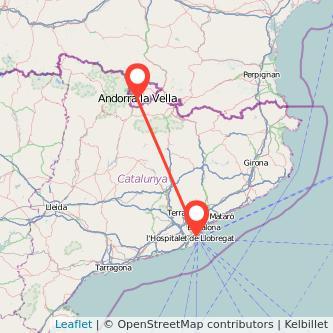 Mapa del viaje Barcelona Andorra en bus