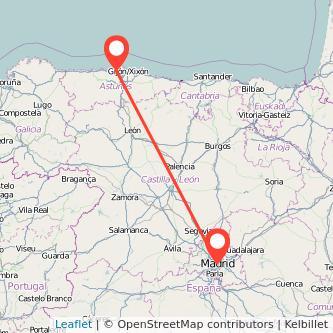 Mapa del viaje Avilés Madrid en bus