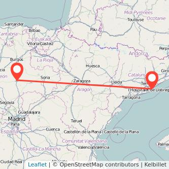 Mapa del viaje Aranda de Duero Barcelona en bus