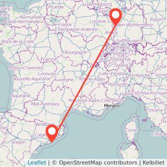 Strasbourg Barcelona train map