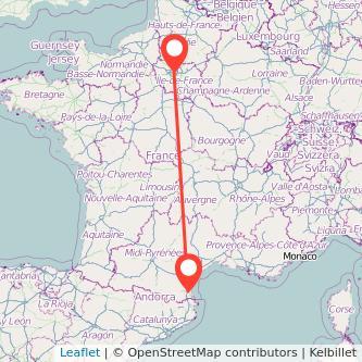 Mapa del viaje Perpignan París en bus