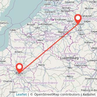 Paris Düsseldorf train map