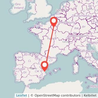 Mapa del viaje París Valencia en tren