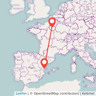 Mapa del viaje París Castellón en bus