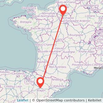 Mapa del viaje París Zaragoza en bus