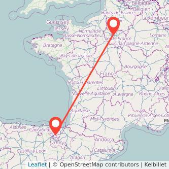 Mapa del viaje París Vitoria-Gasteiz en tren