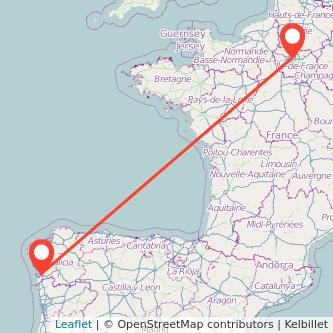 Mapa del viaje París Vigo en tren