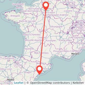Mapa del viaje París Tarragona en bus