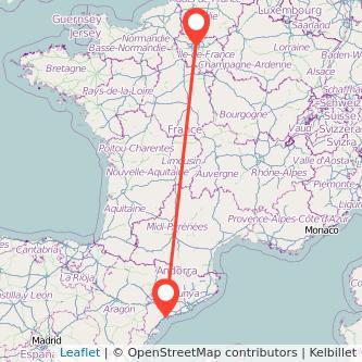 Mapa del viaje París Reus en tren
