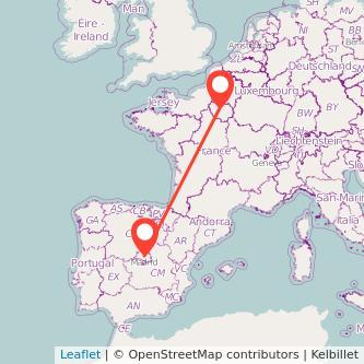 Mapa del viaje París Madrid en tren