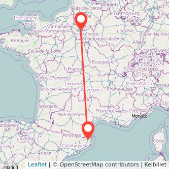 Mapa del viaje París Figueres en tren