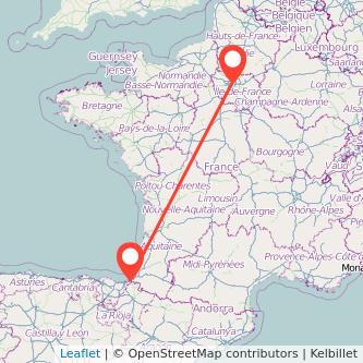 Mapa del viaje París Hendaya en tren