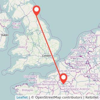 Paris Newcastle upon Tyne train map