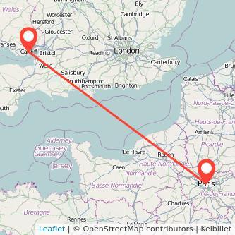 Paris Cardiff bus map