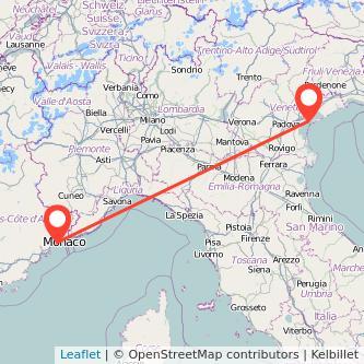Mapa del viaje Niza Venecia en bus