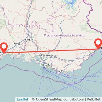 Mapa del viaje Montpellier Niza en bus