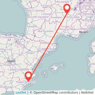 Mapa del viaje Lyon Murcia en bus
