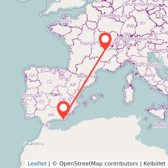 Mapa del viaje Lyon Almería en bus