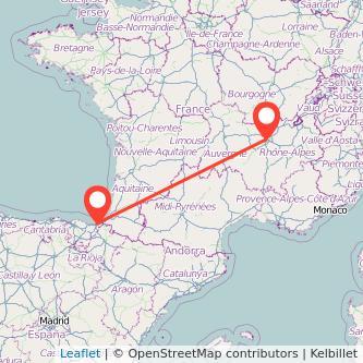 Mapa del viaje Lyon San Sebastián en bus