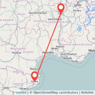 Mapa del viaje Lyon Girona en bus
