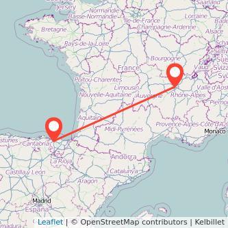 Mapa del viaje Lyon Bilbao en bus