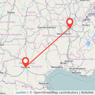 Mapa del viaje Lyon Toulouse en bus