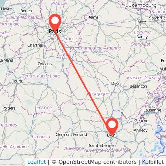 Mapa del viaje Lyon París en bus